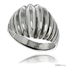 Size 6.5 - Sterling Silver Scalloped Dome Ring 5/8 in wide -Style  - $27.46