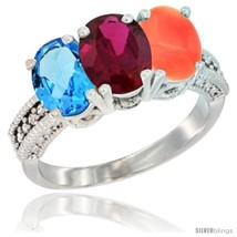 Size 5.5 - 14K White Gold Natural Swiss Blue Topaz, Ruby & Coral Ring 3-... - $723.37