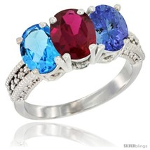 Size 8.5 - 14K White Gold Natural Swiss Blue Topaz, Ruby & Tanzanite Ring  - $771.36