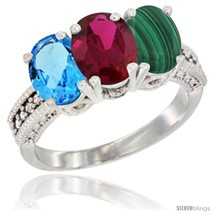Size 9 - 14K White Gold Natural Swiss Blue Topaz, Ruby & Malachite Ring ... - $718.03