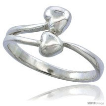 Size 7.5 - Sterling Silver Double Heart Ring Fl... - $18.26