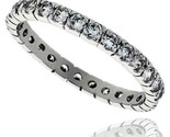 Sterling silver cubic zirconia eternity band ring brilliant cut 2mm rhodium finish thumb155 crop