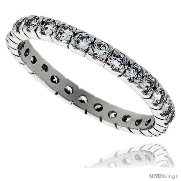 Sterling silver cubic zirconia eternity band ring brilliant cut 2mm rhodium finish