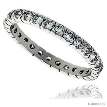 Size 9 - Sterling Silver Cubic Zirconia Eternity Band Ring Brilliant Cut 2mm  image 1
