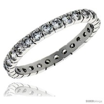 Size 9 - Sterling Silver Cubic Zirconia Eternity Band Ring Brilliant Cut 2mm  image 2
