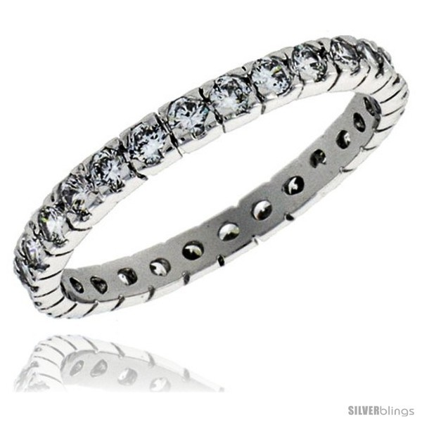 Size 7 - Sterling Silver Cubic Zirconia Eternity Band Ring Brilliant Cut 2mm