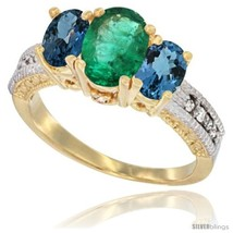Size 7 - 14k Yellow Gold Ladies Oval Natural Emerald 3-Stone Ring with L... - $747.70