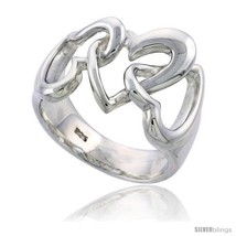 Size 7 - Sterling Silver 3 Linked Hearts Ring Flawless finish 9/16 in  - $48.41