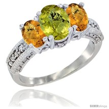 Size 8 - 10K White Gold Ladies Oval Natural Lemon Quartz 3-Stone Ring with  - £410.81 GBP