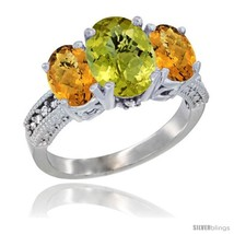 Size 9 - 10K White Gold Ladies Natural Lemon Quartz Oval 3 Stone Ring with  - £472.80 GBP