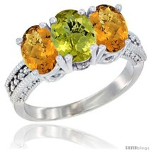 Size 6.5 - 10K White Gold Natural Lemon Quartz & Whisky Quartz Sides Ring  - £419.71 GBP