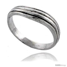 Size 8 - Sterling Silver Wavy Wedding Band Ring 3/16 in  - $23.83
