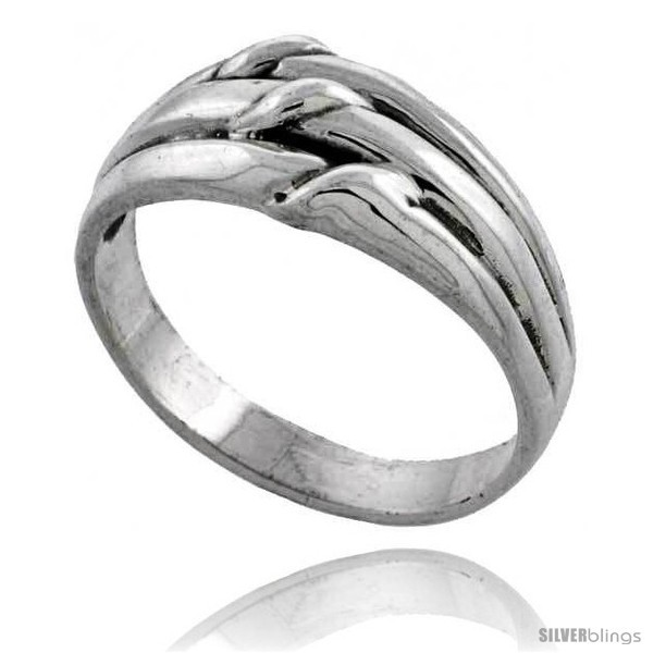 Sterling silver grooved knot ring 3 8 wide