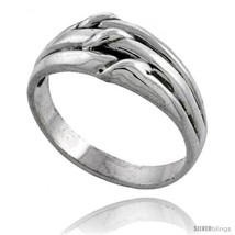 Sterling silver grooved knot ring 3 8 wide thumb200