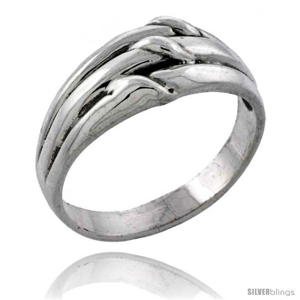Size 6.5 - Sterling Silver Grooved Knot Ring 3/8