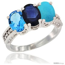 An item in the Jewelry & Watches category: Size 9 - 14K White Gold Natural Swiss Blue Topaz, Blue Sapphire & Turquoise