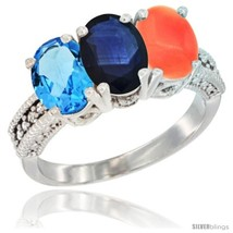 An item in the Jewelry & Watches category: Size 8.5 - 14K White Gold Natural Swiss Blue Topaz, Blue Sapphire & Coral Ring