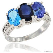 Size 9.5 - 14K White Gold Natural Swiss Blue Topaz, Blue Sapphire & Tanz... - $816.85