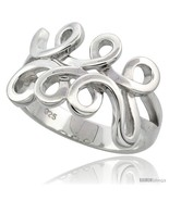 Size 9 - Sterling Silver Spiral Pattern Ring Flawless finish, 9/16 in  - £26.26 GBP