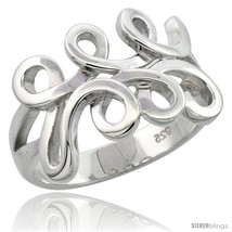 Size 9 - Sterling Silver Spiral Pattern Ring Flawless finish, 9/16 in  image 2