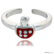 Sterling Silver Child Size Mushroom Ring, w/ Red Enamel Design, 5/16in  (8 mm)  - $35.94