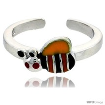 Sterling Silver Child Size Bumble Bee Ring, w/ Yellow, Black & Orange Enamel  - $35.94