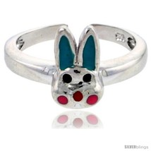 Sterling Silver Child Size Rabbit Head Ring, w/ Aqua Green & Pink Enamel  - $35.94