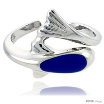 Sterling Silver Child Size Dolphin Ring, w/ Blue Enamel Design, 7/16in  (11 mm)  - $35.94