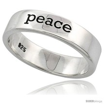 Size 8.5 - Sterling Silver PEACE Ring Flawless finish Band, 3/16 in  - $31.75