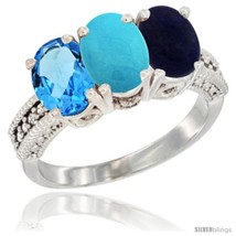 E gold natural swiss blue topaz turquoise lapis ring 3 stone 7x5 mm oval diamond accent thumb200