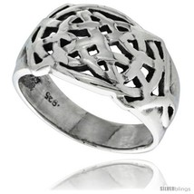 Size 10.5 - Sterling Silver Celtic Knot Pattern Ring 1/2 in  - £20.87 GBP
