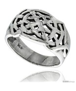 Size 14 - Sterling Silver Celtic Knot Pattern Ring 1/2 in  - $35.36