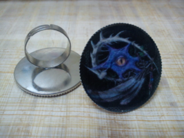 Dragon eye with feathers Ring. Gothic - $22.22