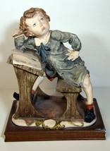 "10"" Vintage Capodimonte Porcelain Statue Giuseppe Armani Sad Boy at Desk  - $85.49"