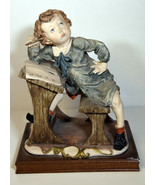 "10"" Vintage Capodimonte Porcelain Statue Giuseppe Armani Sad Boy at Desk  - $85.49"