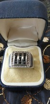 Antique Vintage 1930-s Signet Ring Sterling Silver Black/White Zircon, UK S, US9 - $127.71