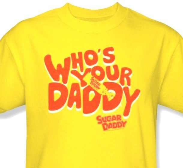 Who's Your Sugar Daddy T shirt yellow 80's 100% cotton graphic tee TR130