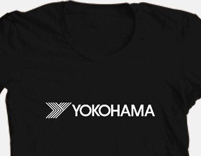 Yokohama Logo T shirt black 100% cotton graphic printed tee car racing tires