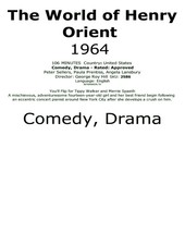The World of Henry Orient 1964 #2586 TV Movie DVD - $2.29