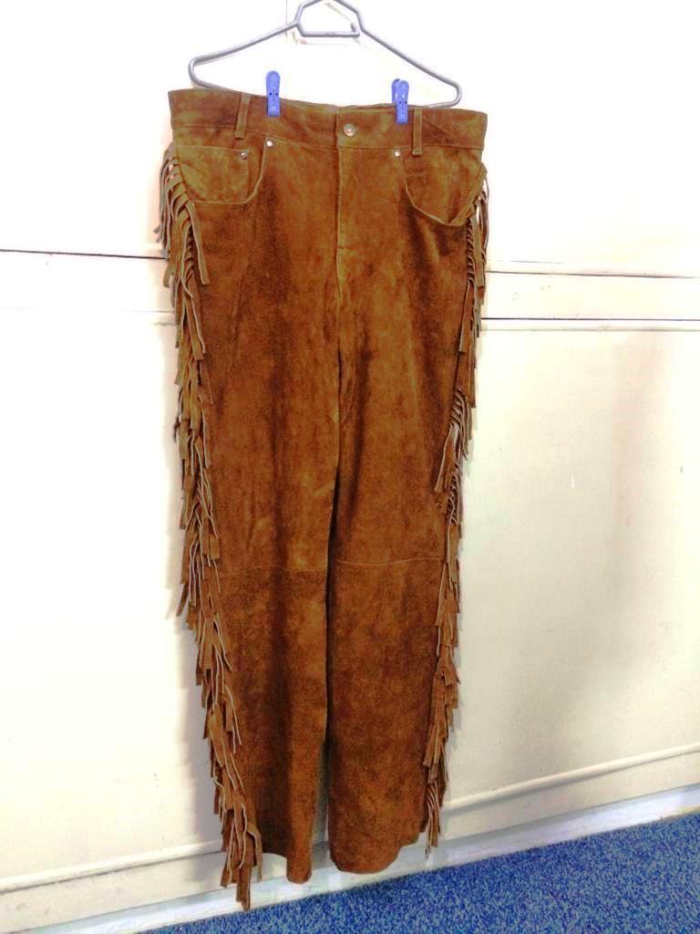Men's New Native American Brown Buckskin Suede Leather Fringes Western Pants WP6