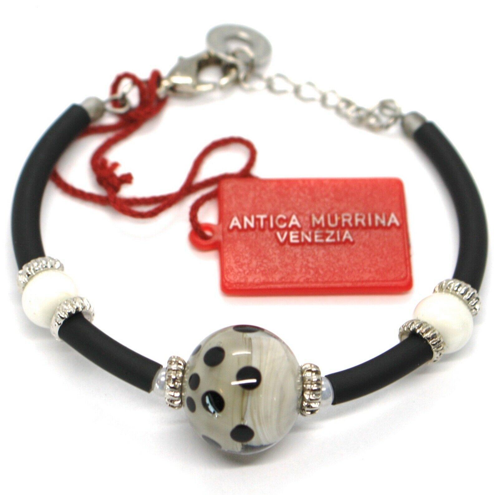 Bracelet Antica Murrina Venezia  BR718A14 Black White,Sphere Polka