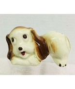 OLD Pottery Puppy Dog  Toothbrush Holder Figural Porcelain Cute T150 - $84.15