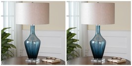 "PAIR MODERN 29"" GLASS HAGANO TABLE BUFFET LAMP LINEN SHADE LIGHT CRYSTAL... - $567.60"