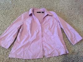 Apostrophe Pink Orchid Lilac Button Up 3/4 Slee... - $7.69