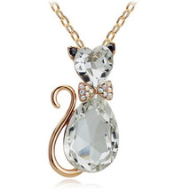 FREE 18K Gold Plated Rhinestone White Crystal Cat Necklace - $0.00