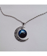 Moon Galaxy Universe Glass Cabochon Pendant Necklace. Fast Shipping from... - $3.50