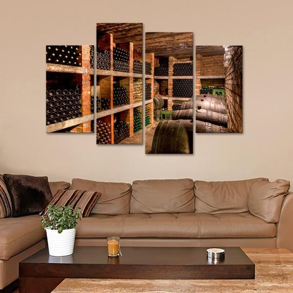 Framed 4 Piece Wine Cellar Picture Canvas Painting Wall Art Home ...