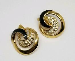 Trifari Tm Black Enamel Clear Rhinestone Swirl Clip Earrings - $29.69