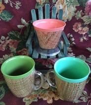 Vintage Lot of 3 Raffia Melmac Insulted Tumbler Cups + Pedestal Ice Crea... - $22.51