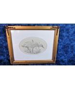 """Original Shore Bird Pencil Sketch 6 1/2"""" x 4 1/2"""" in Oval Matting, O. Ru... - $18.69"""
